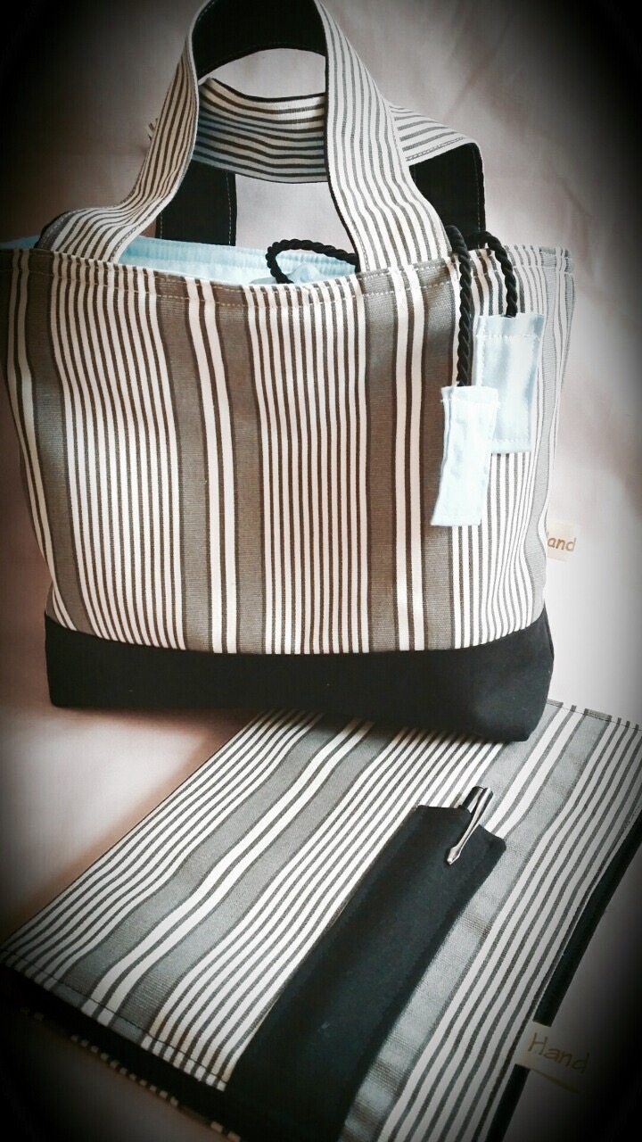 Lunch bag and diary cover in black and white stripes