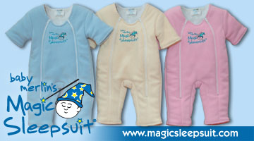 Magic sleepsuits in yellow blue and pink with logo and website on