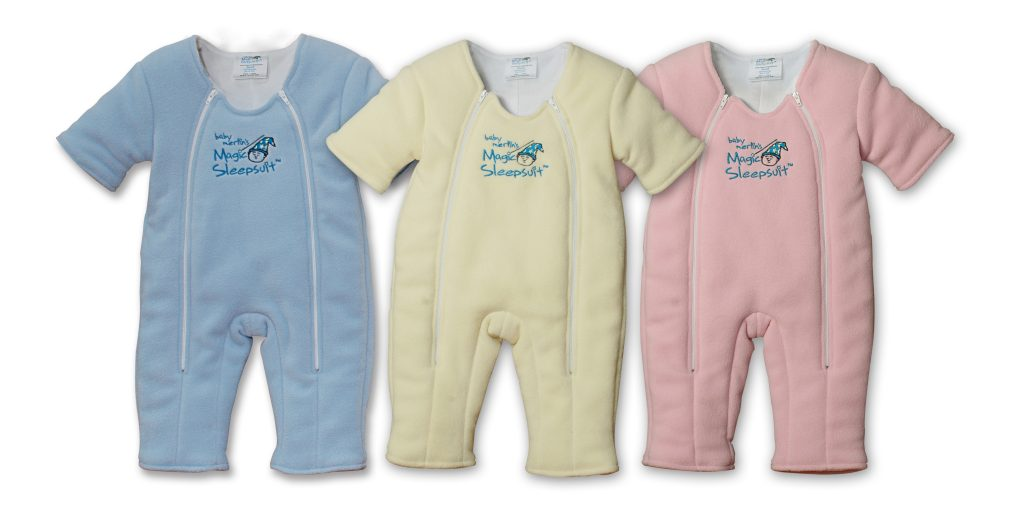 3 magic sleepsuits blue yellow and pink
