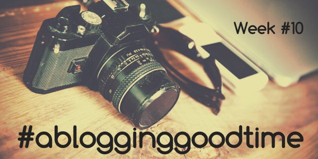 camera on a wooden table with linky title written