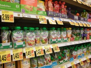 shelves of baby food pouches