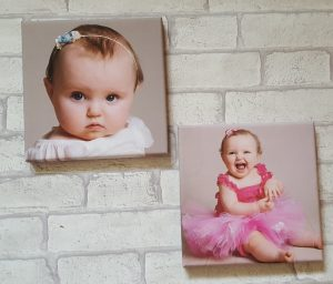 two square canvas pictures of alyssa