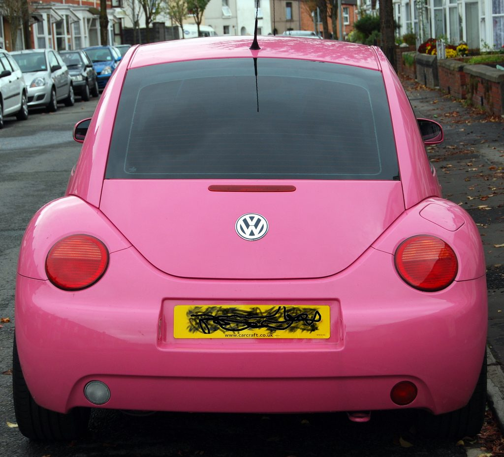 pink vw beetle car