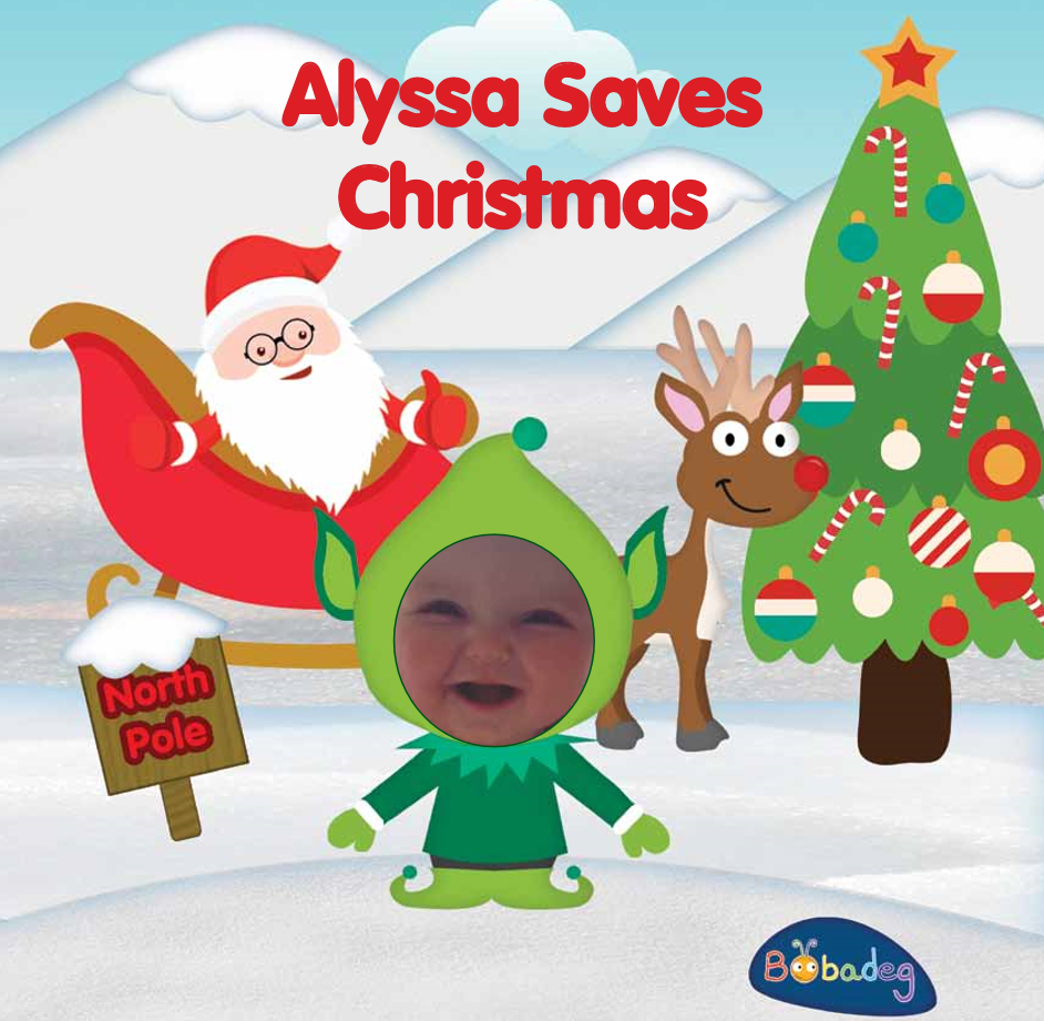 Alyssa as an elf with santa on his sleigh and rudolph next to a christmas tress surrounded by snow
