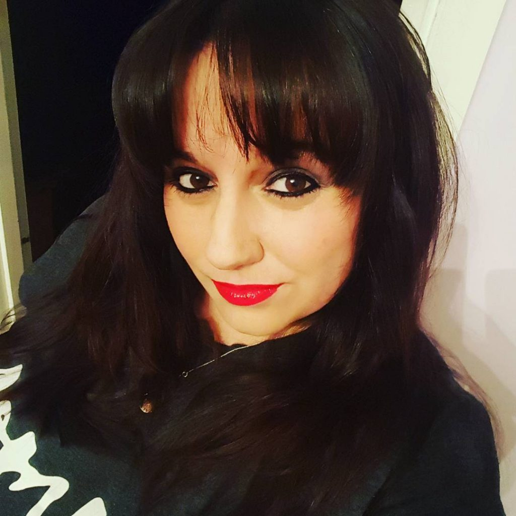 me with a new fringe and red lipstick on