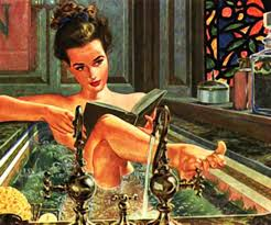 coloured drawing of a woman relaxing in the bath reading her book with her foot on the tap and water gushing out