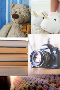 a teddy bear a canon camera a woolen blanket a pile of cooks and unicorn slippers