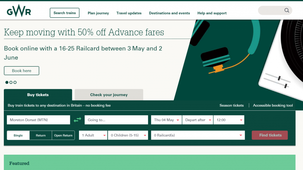 a screen shot that shows the green and white website home page of gwr