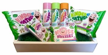 a wooden box with wipes bath products nose wipes and hand spray