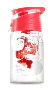clear water bottle with a white fruit pattern on outside a red lid and a tube of strawberries inside