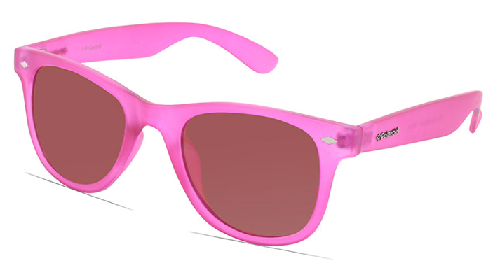 neon pink sunglasses with the word polaroid on the arm