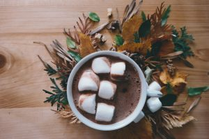 a mug of hot chocolate with marshmallows in