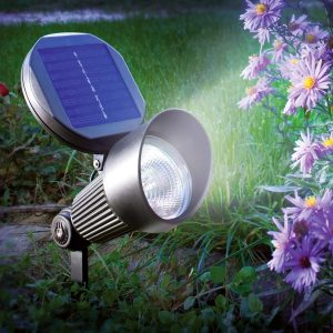 a solar light in a garden next to purple flowers