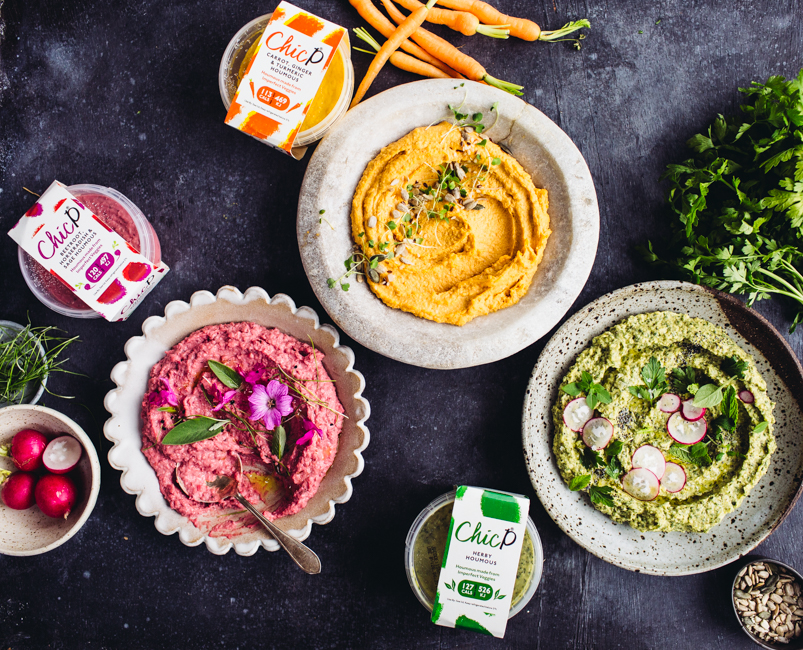 3 different houmous with their pots