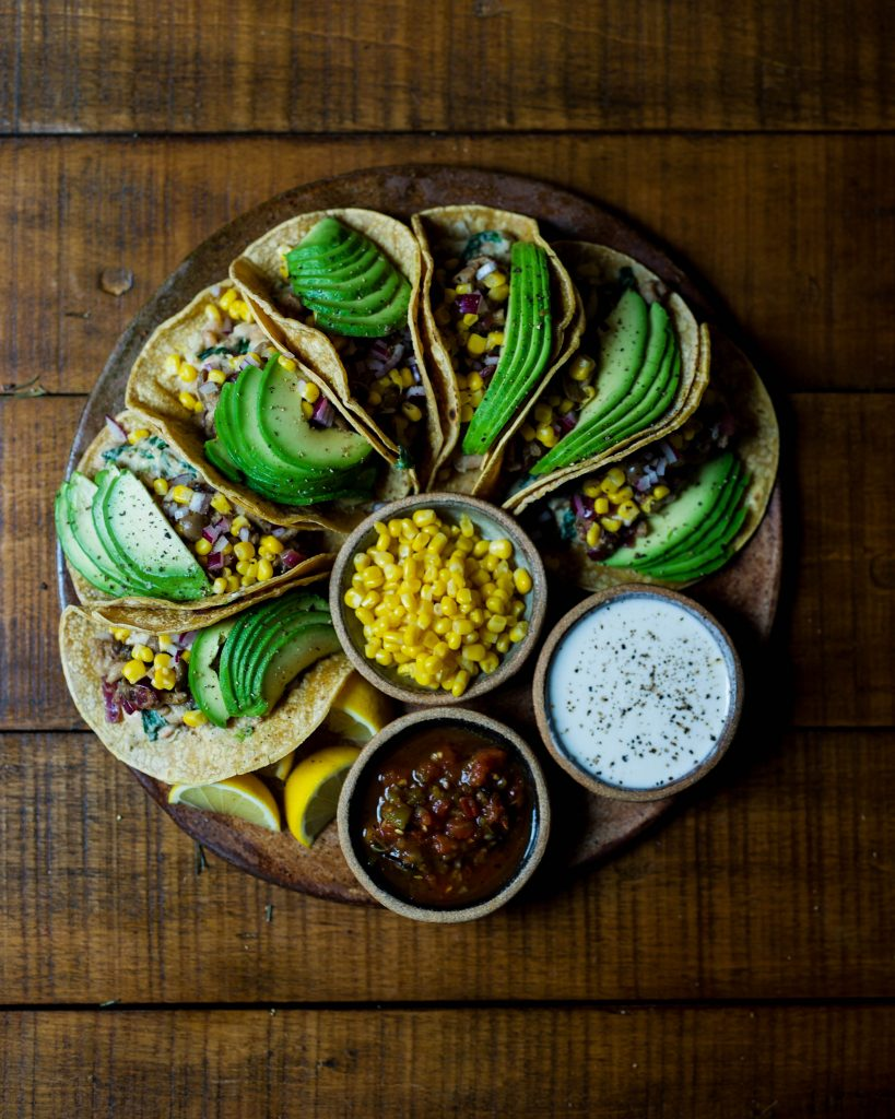 burritos with avocado and dips